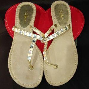 Cole Haan Sandal Gold Rhinestone Flip Flop 7.5